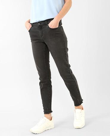 Ausgefranste Skinny-Jeans Schwarz