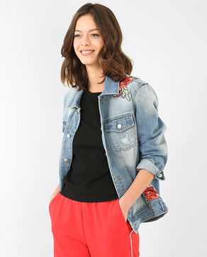 Jeansjacke mit Patches Blau