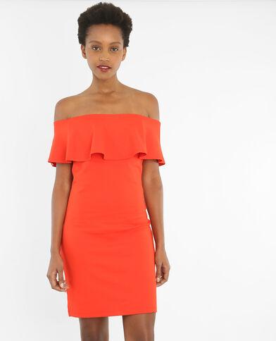Bodycon-Kleid mit Bardot-Ausschnitt Rot