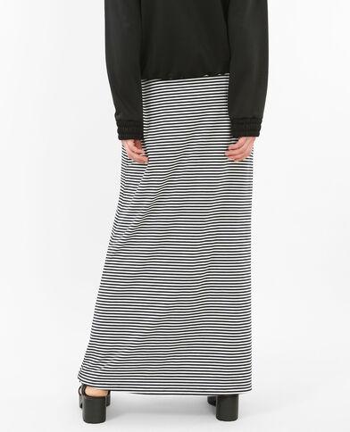 Lange gestreepte rok marineblauw