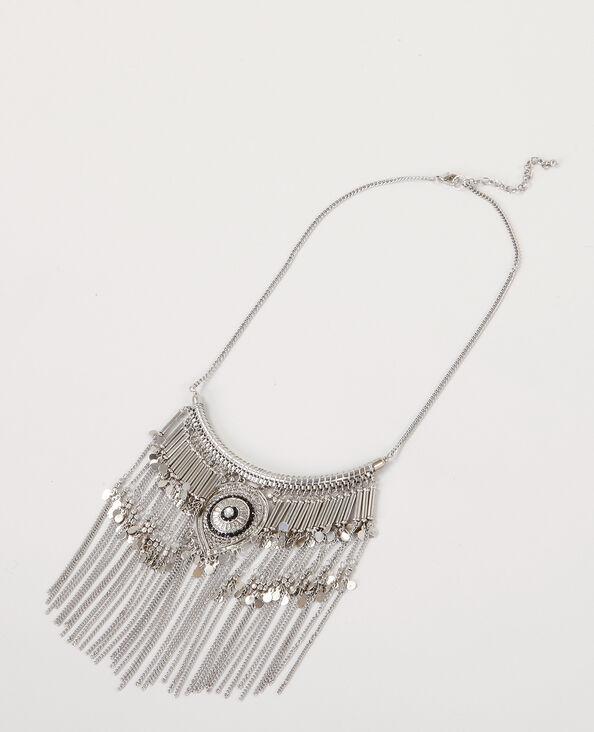 Collier ethnique à franges gris argenté