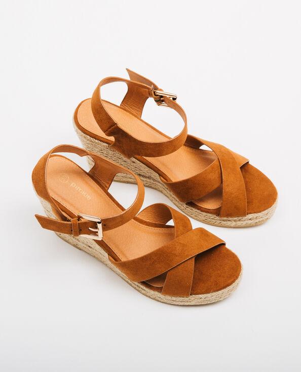Sandalen met sleehak kastanjebruin
