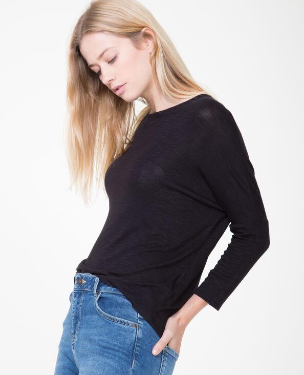 T-shirt à manches chauve-souris noir