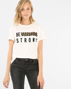 Camiseta con banda de leopardo blanco