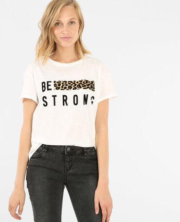 T-Shirt mit einem Streifen aus Leoparden-Print Weiß