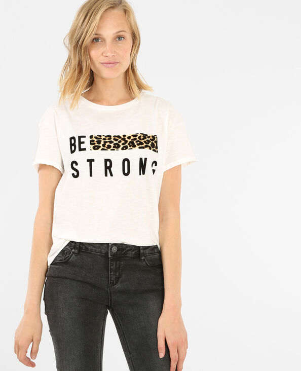T-shirt fascia leopardata bianco
