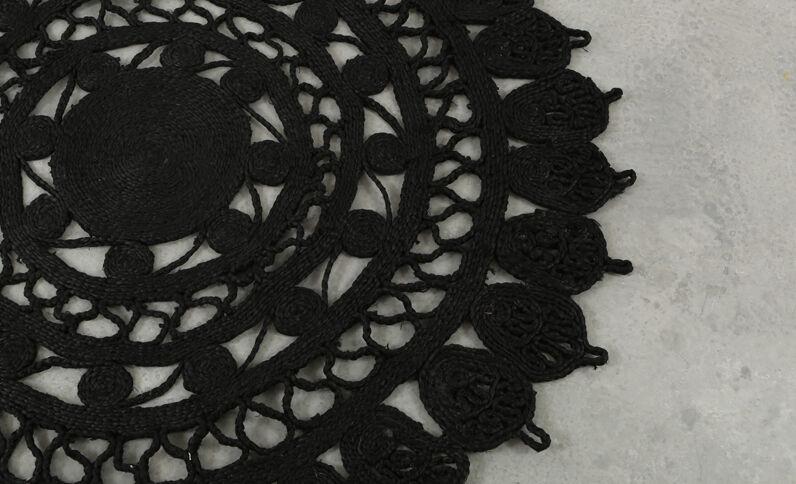 Großer Mandala-Teppich Schwarz