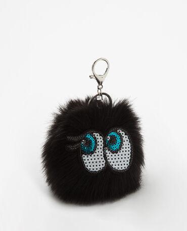 Porte-clés pompon noir noir