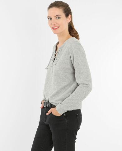 Sweatshirt mit Schnürung am Halsausschnitt Grau