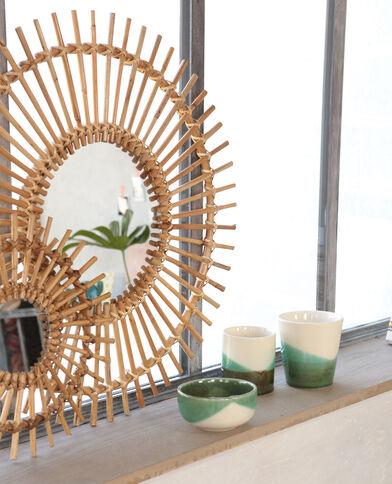Espejo con forma de sol de ratán beige grisáceo