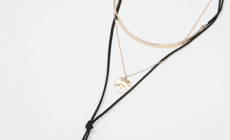 Schnur-Halskette mit Choker Schwarz