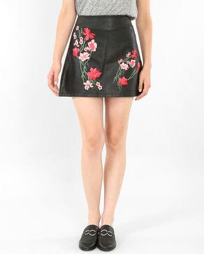 Mini jupe à broderies noir