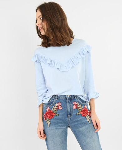 Camiseta con volantes azul celeste