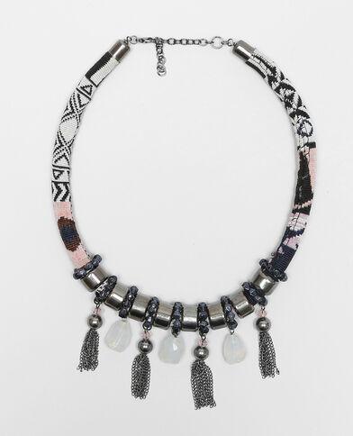 Röhrenförmiger Halsreif im Ethno-Stil Marineblau