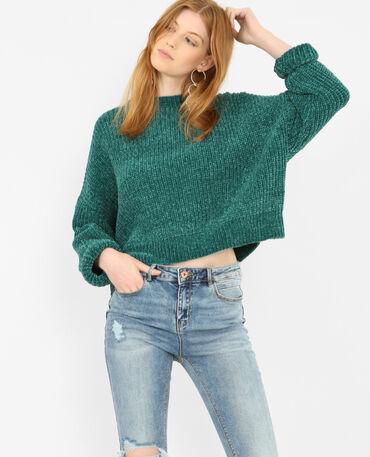 Jersey de punto chenilla verde