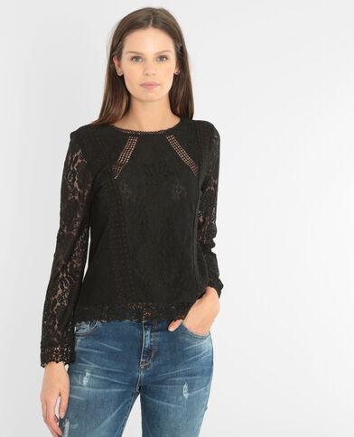 T-Shirt aus Materialmix mit Spitze Schwarz