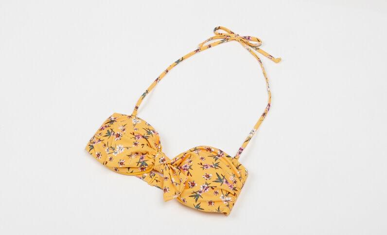 Fleurig bikinitopje geel