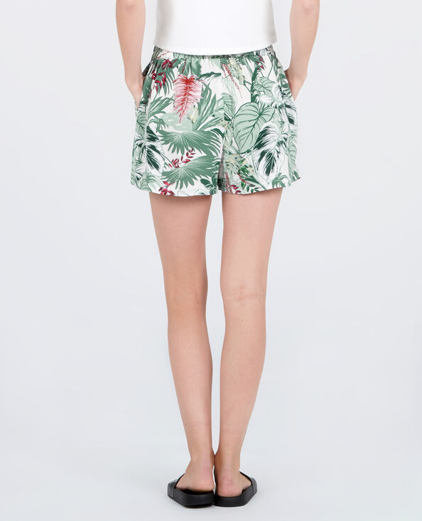 Fließende Shorts mit Print Naturweiß