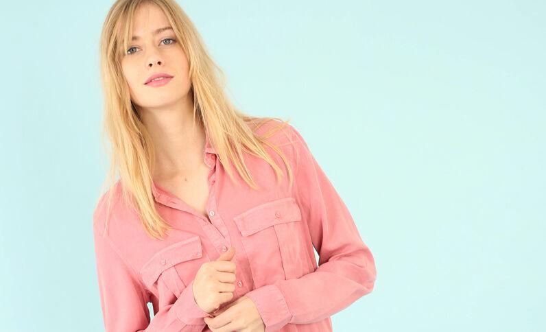 Bluse aus Tencel mit Taschen Zartrosa