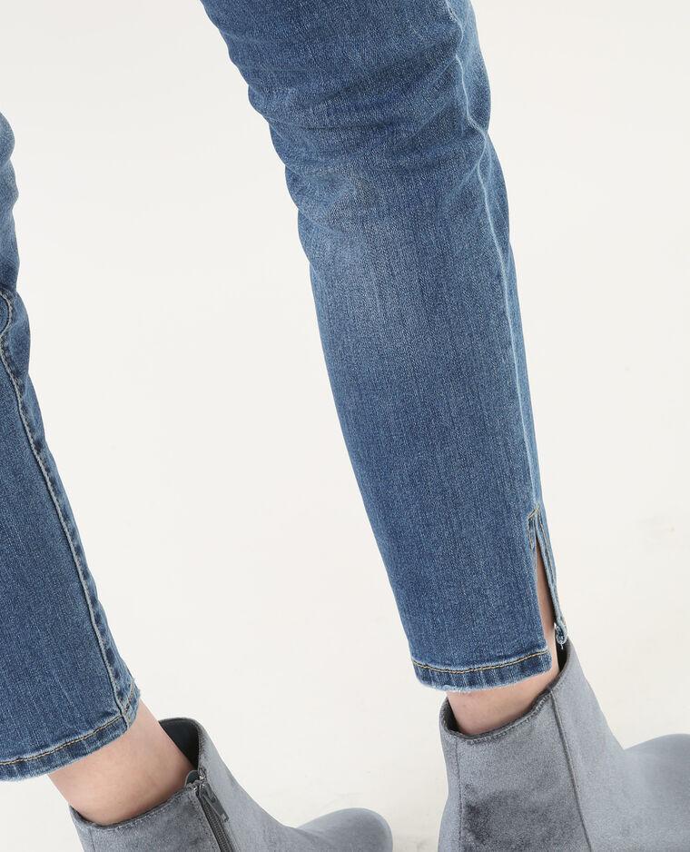 Jean skinny 7/8 fentes chevilles bleu