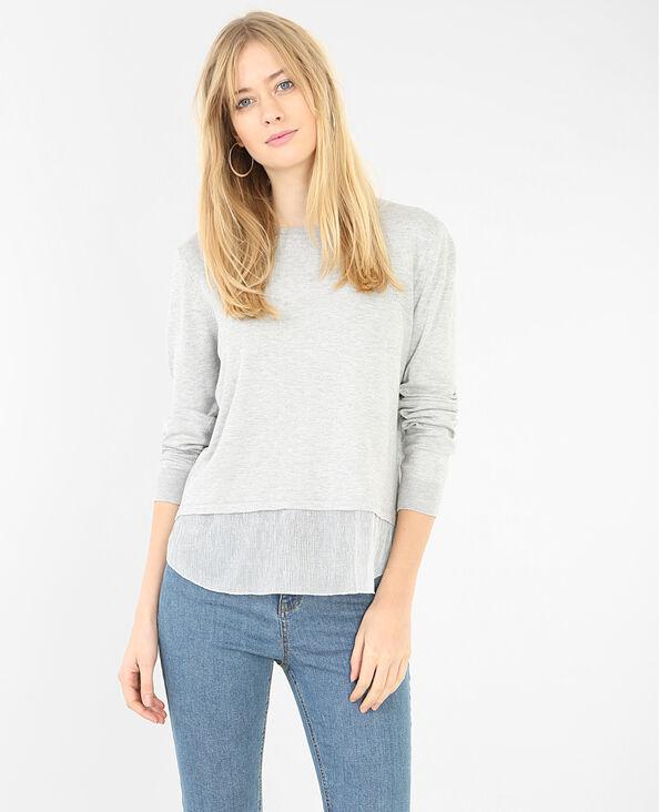 Pullover mit Voile und Lurex Grau meliert