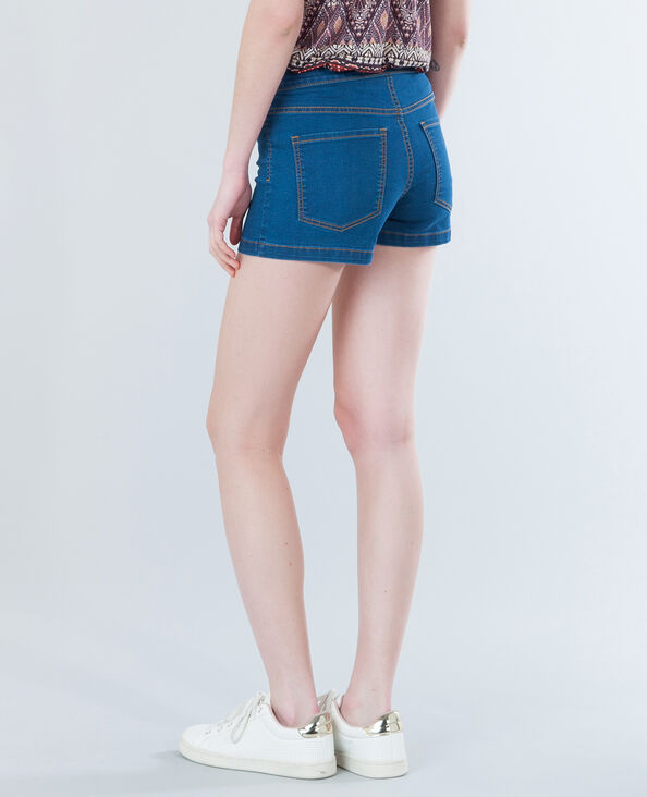 Minishort taille haute bleu denim