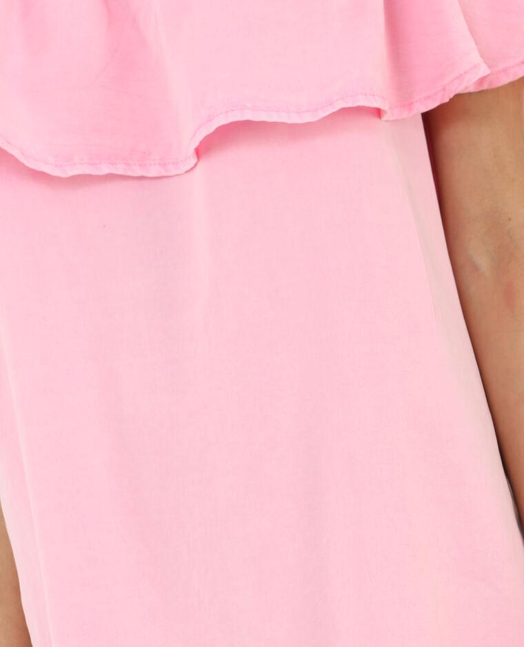 Bardot-Rüschenkleid Neonrosa