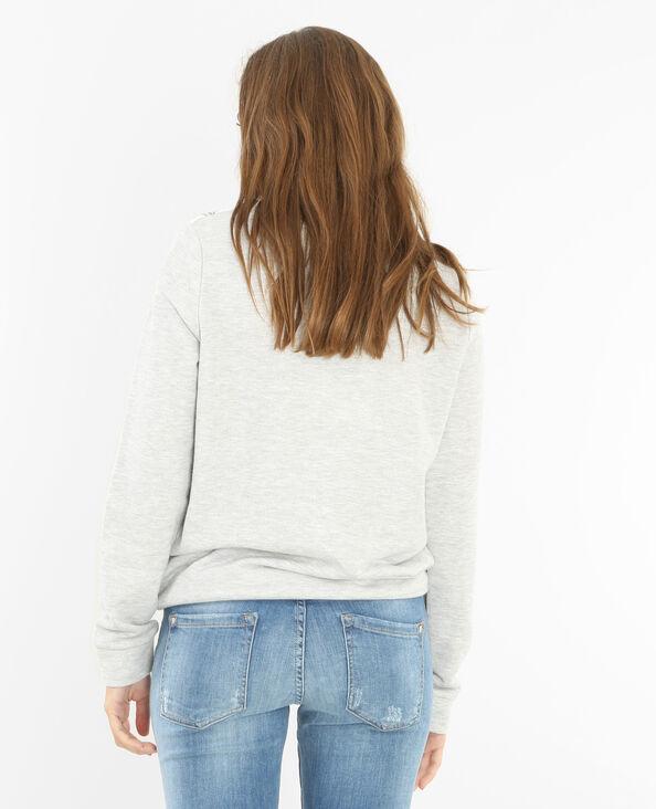 Geblümtes Sweatshirt aus Materialmix Grau