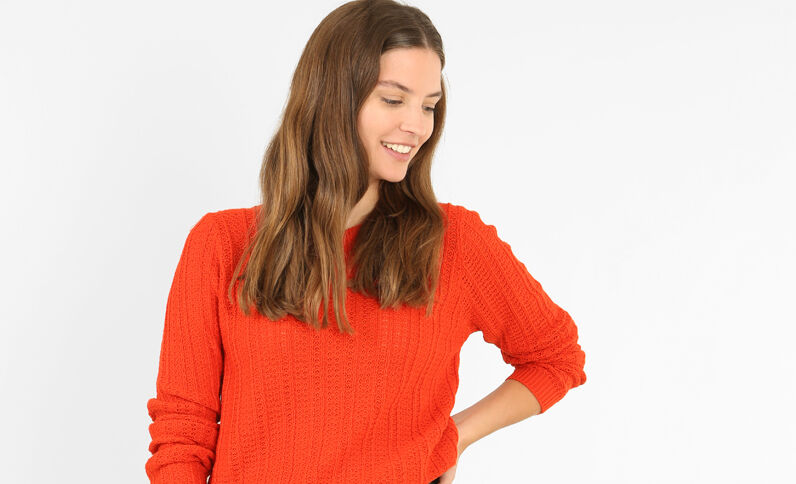 Pullover mit Ajourmuster Rot