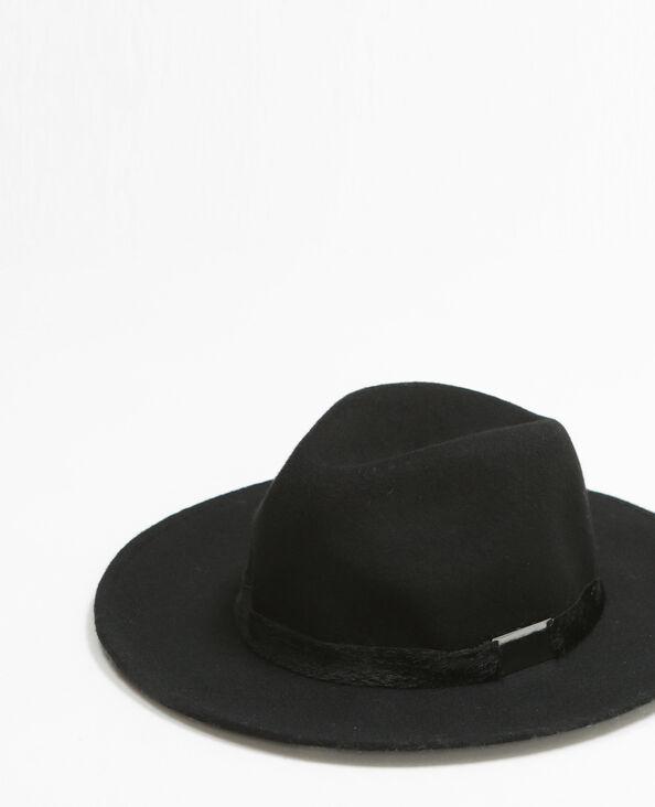 Cappello fedora gallone pelliccia nero
