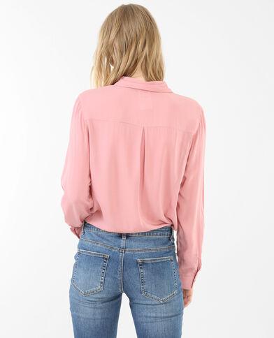 Einfarbige Hemdbluse Rosa