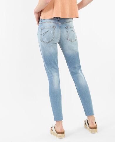 Jeans skinny 7/8 destroy blu