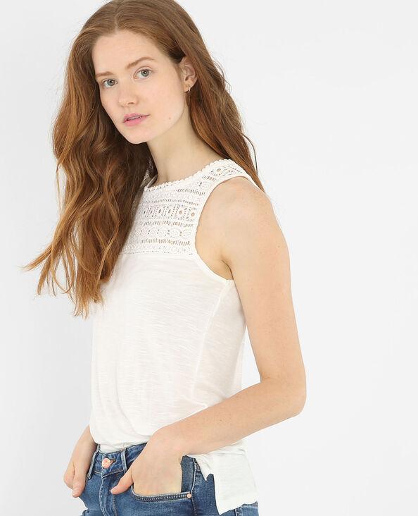 Camiseta de tirantes con crochet en la parte superior marfil