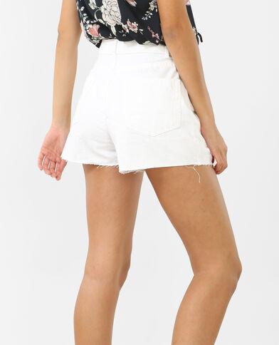Short en jean taille haute blanc