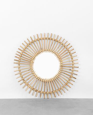 Spiegel in Sonnenform mit Rahmen aus Rattan Taupebeige