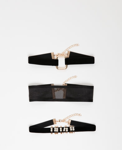 Lotto da 3 choker nero