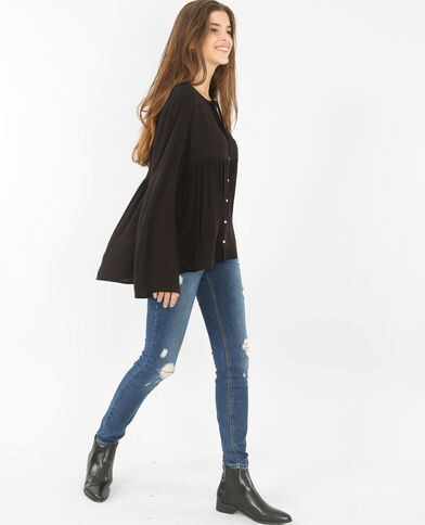 Blouse manches pagodes noir