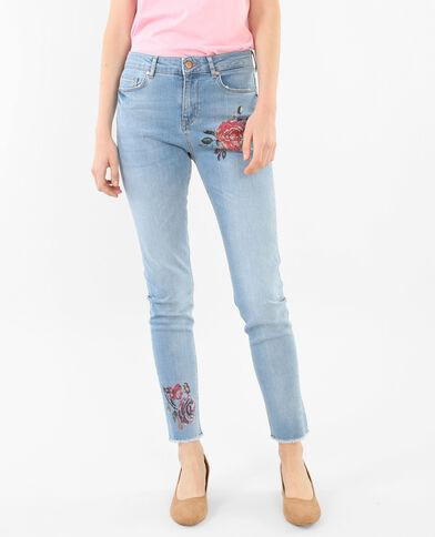 Slim-Jeans mit Blumen-Print Ausgewaschenes Blau