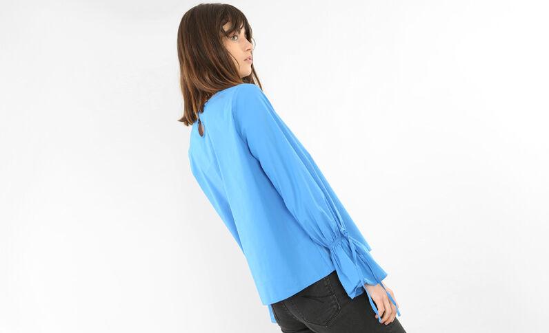 Bluse mit Pagodenärmeln Blau