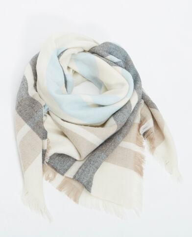 Großer Schal mit Karomuster beige