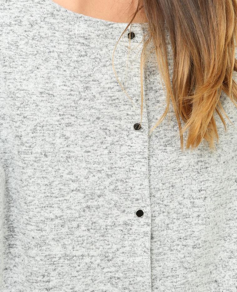 Pull doux boutonné gris chiné