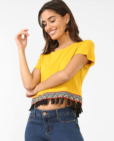Cropped topje met pompons geel