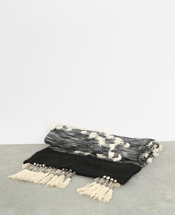 Plaid à pompons noir