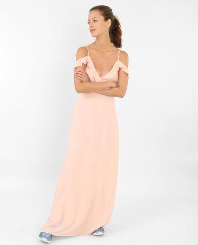 Lange jurk met peekaboomouwen roze