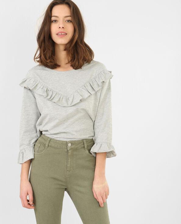 T-Shirt mit Rüschen Grau meliert