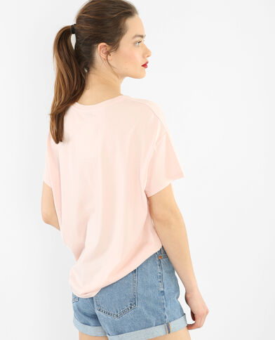 T-Shirt mit Patches rosa
