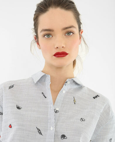 Camicia a righe ricamata bianco