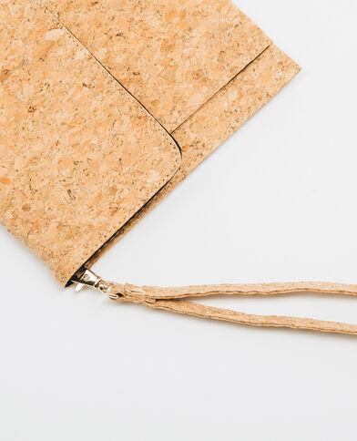 Clutch aus Kork mit Pailletten Beige