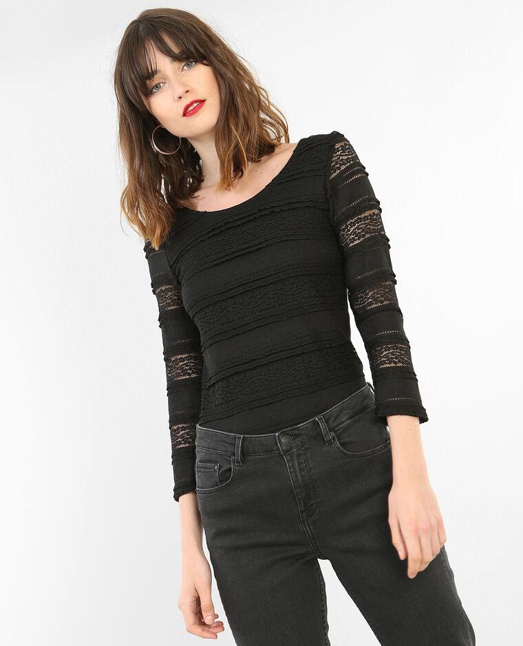spitzen t shirt mit dreiviertel rmeln 403596899a08 pimkie. Black Bedroom Furniture Sets. Home Design Ideas