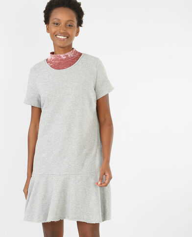 Robe sweat à basque gris chiné